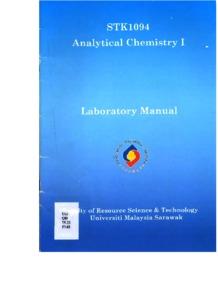 STK1094 Analytical Chemistry 1 : Laboratory Manual - UNIMAS
