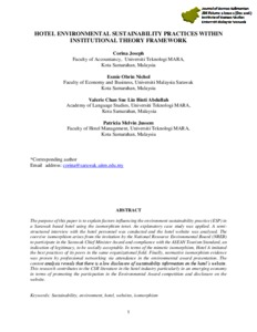 Hotel environmental sustainability practices within Institutional