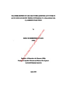 Teachers report on the use of pre - listening activities in